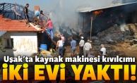Uşak'ta kaynak kıvılcımı yangına neden oldu