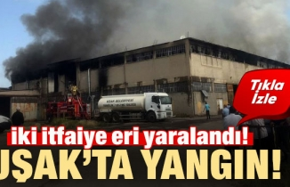 Uşak'ta kilim fabrikasında yangın